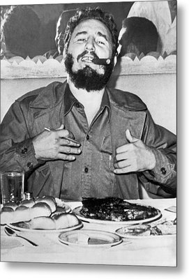 Fidel Castro In New York Metal Print by Underwood Archives