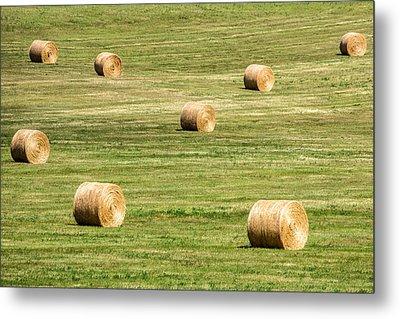 Field Of Large Round Bales Of Hay Metal Print by Todd Klassy