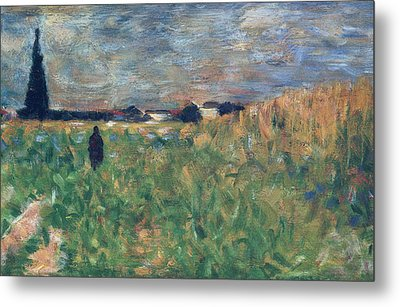 Fields In Summer Metal Print by Georges Pierre Seurat