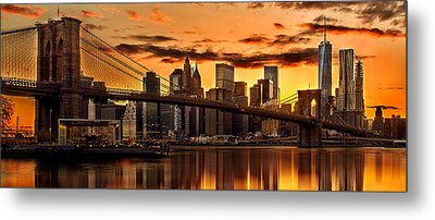 Fiery Sunset Over Manhattan  Metal Print by Az Jackson