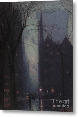 Fifth Avenue At Twilight Metal Print by Lowell Birge Harrison