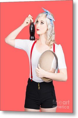 Fifties Diner Pin-up Waiter Serving Soft Drink  Metal Print by Jorgo Photography - Wall Art Gallery