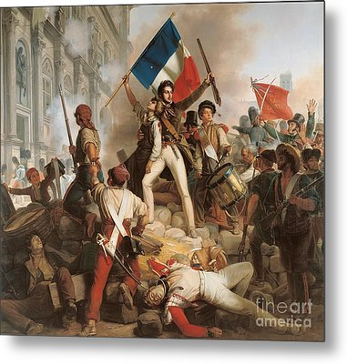 Fighting At The Hotel De Ville Metal Print by Jean Victor Schnetz