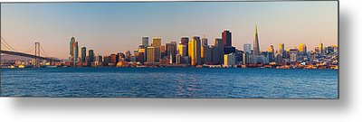 Financial District And The Bay Bridge Metal Print by Panoramic Images