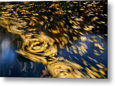 Finding Center - Autumn Abstract Metal Print by Steven Milner