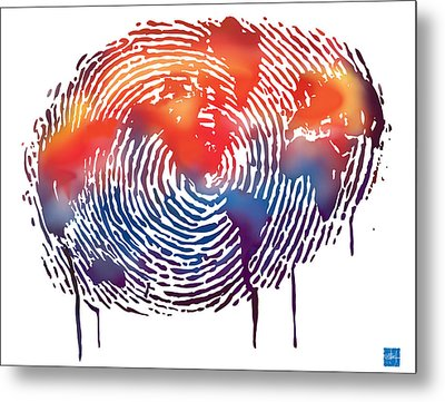 Finger Print Map Of The World Metal Print by Sassan Filsoof