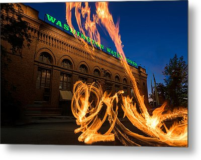 Fire Dancers In Spokane W A Metal Print by Steve Gadomski