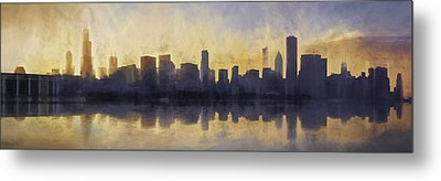 Fire In The Sky Chicago At Sunset Metal Print by Scott Norris