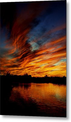 Fire Sky Metal Print by Saija  Lehtonen