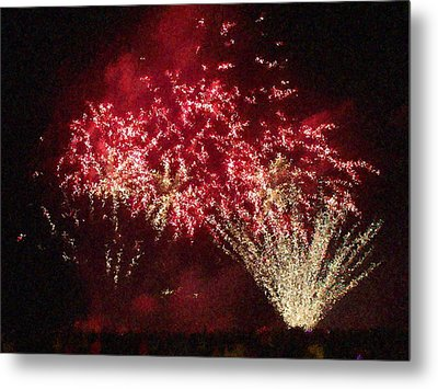 Fire Works Show Stippled Paint 4 Canada Metal Print by Dawn Hay