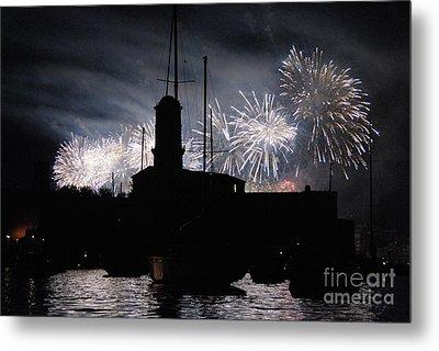 Fireworks Over Marseille's Vieux-port On July 14th Bastille Day Metal Print by Sami Sarkis