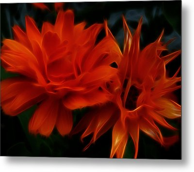 Firey Red Orange Flowers Abstract Metal Print by Cindy Wright