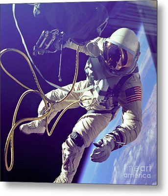 First American Walking In Space, Edward Metal Print by Nasa