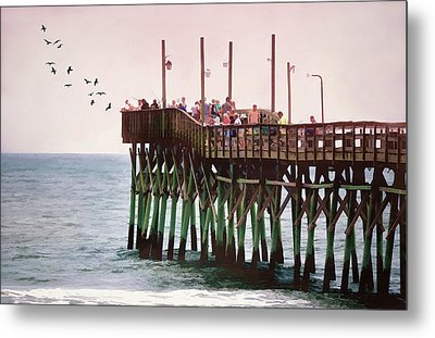 Fish Are Biting At Ocean Isle Pier Metal Print by Sandi OReilly