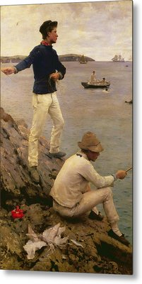 Fisher Boys Falmouth Metal Print by Henry Scott Tuke