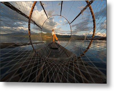 Fisherman On Inle Lake Metal Print by Mark Prior