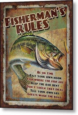 Fisherman's Rules Metal Print by JQ Licensing