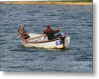 Fishermen In A Boat Metal Print by Louise Heusinkveld