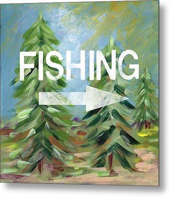 Fishing- Art By Linda Woods Metal Print by Linda Woods