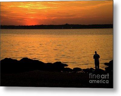 Fishing At Sunset Metal Print by Karol Livote