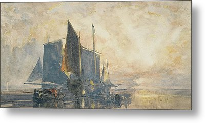 Fishing Boats At Anchor   Sunset Metal Print by William Roxby Beverly