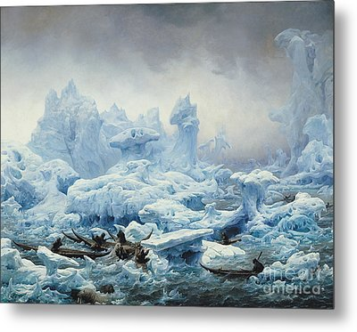 Fishing For Walrus In The Arctic Ocean Metal Print by Francois Auguste Biard