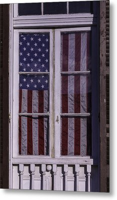 Flag In New Orleans Window Metal Print by Garry Gay