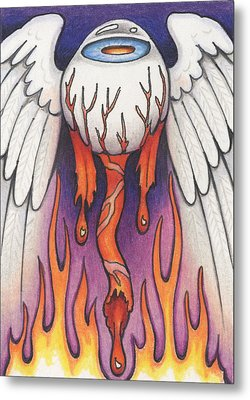 Flaming Flying Eyeball Metal Print by Amy S Turner