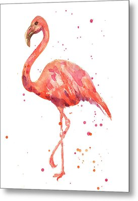 Flamingo Facing Left Metal Print by Alison Fennell