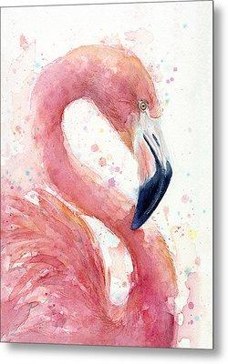 Flamingo - Facing Right Metal Print by Olga Shvartsur