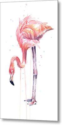 Flamingo Illustration Watercolor - Facing Left Metal Print by Olga Shvartsur