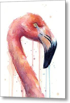 Flamingo Painting Watercolor - Facing Right Metal Print by Olga Shvartsur