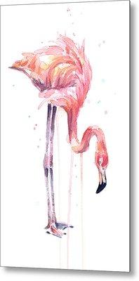 Flamingo Painting Watercolor Metal Print by Olga Shvartsur