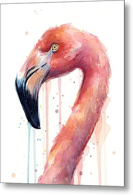 Flamingo Watercolor Illustration Metal Print by Olga Shvartsur