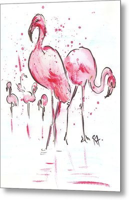 Flamingoes Metal Print by Remy Francis