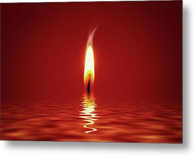Floating Candlelight Metal Print by Wim Lanclus