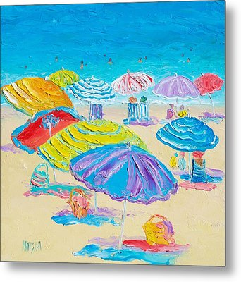Florida Beach Umbrellas Metal Print by Jan Matson