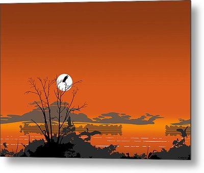Greeting Card - Florida Everglades Tropical Birds Orange Sunset Metal Print by Walt Curlee