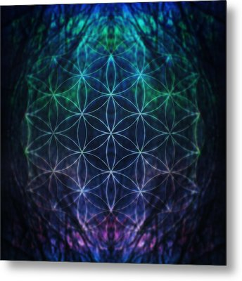 Flower Of Life Neon Metal Print by Edouard Coleman
