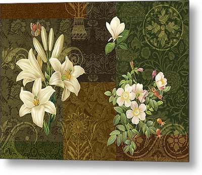 Flower Patchwork 2 Metal Print by JQ Licensing