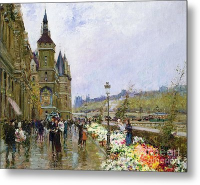 Flower Sellers By The Seine Metal Print by Georges Stein