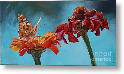 Flowers And Butterfly Metal Print by Janice Wright