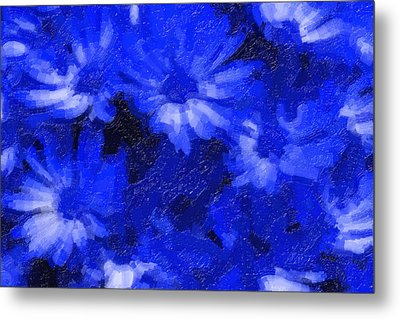 Flowers In Blue Metal Print by Tilly Williams