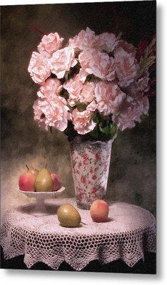 Flowers With Fruit Still Life Metal Print by Tom Mc Nemar