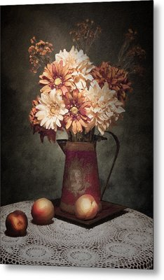 Flowers With Peaches Still Life Metal Print by Tom Mc Nemar