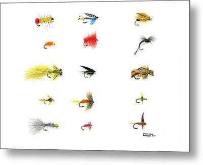 Fly Fishing Nymphs Wet And Dry Flies Metal Print by Sharon Blanchard