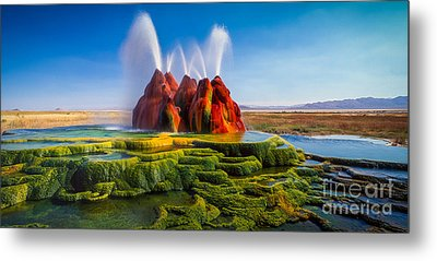 Fly Geyser Panorama Metal Print by Inge Johnsson