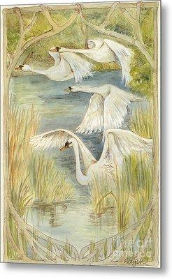 Flying Swans Metal Print by Morgan Fitzsimons