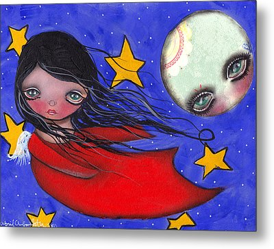 Flying With The Moon Metal Print by  Abril Andrade Griffith