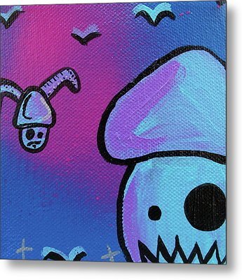 Flying Zombie Mushroom Attack Metal Print by Jera Sky